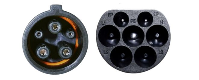 Type 1 to Type 2 EV Connector